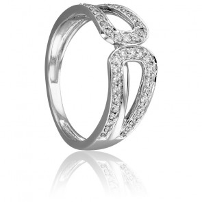 Bague Couronne Or Blanc 18K & Diamants