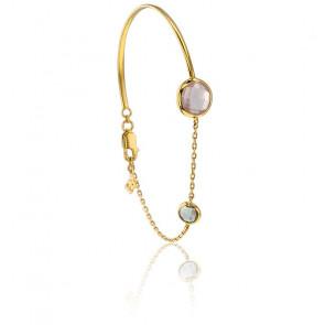 Bracelet Duo Or Jaune 18K, Prasiolite et Quartz Rose
