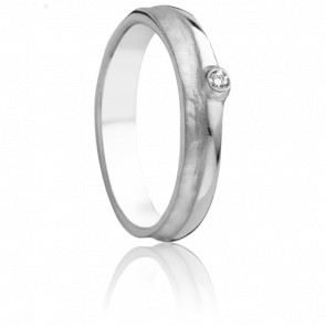 Alliance Ténédos 4,50 mm or blanc 18K et diamant