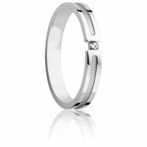 Alliance Ephore 3 mm Or Blanc et Diamant