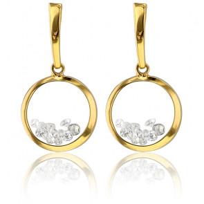 Boucles d'oreilles pendantes Dancing Stars, or jaune 9K & zirconium