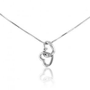 Collier Coeurs Enlacés Or Blanc 9K et Diamants