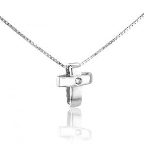 Collier Croix Or Blanc 9K et Diamant