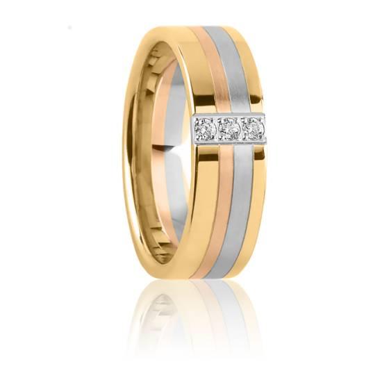 Alliance Protée 6 mm 3 Ors et Diamants