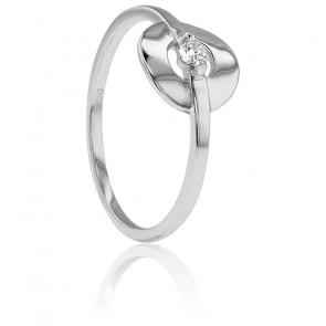 Bague Solitaire Encerclé Or Blanc 18K et Diamant