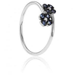 Bague Double Fleur Bleue Or Blanc 18K, Diamants et Saphirs