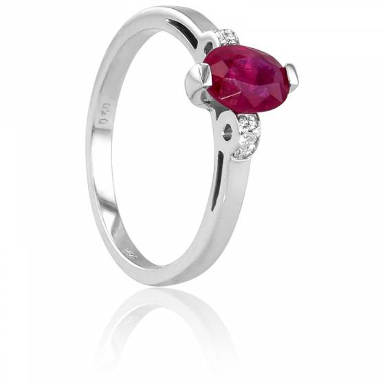 Bague Ovale Or Blanc 18K, Diamants 0,05 ct et Rubis 0.95 ct