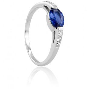 Bague Ovale Or Blanc 18K, Diamants 0,06 ct et Saphir