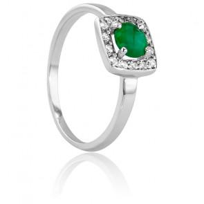 Bague Rectangulaire Or Blanc 18K, Diamant et Emeraude