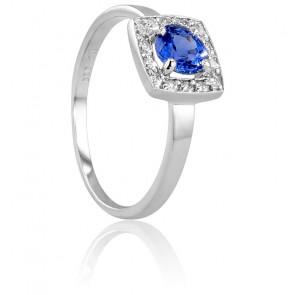 Bague Rectangulaire Or Blanc 18K, Diamant & Saphir
