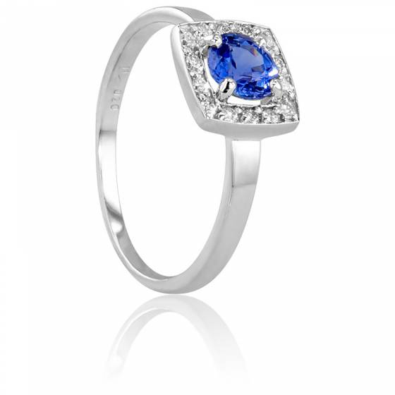 Top Bague Rectangulaire Or Blanc 18 carats, Diamants 0,11 carat et  SR02