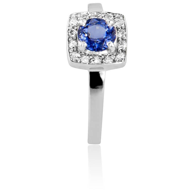 Extrêmement Bague Rectangulaire Or Blanc 18 carats, Diamants 0,11 carat et  PA42