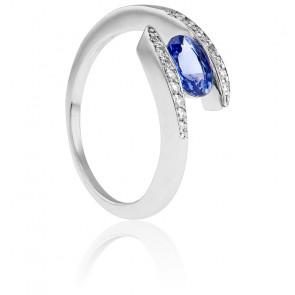 Bague 2 Fils Or Blanc 18K, Diamants & Saphir 0,95 ct