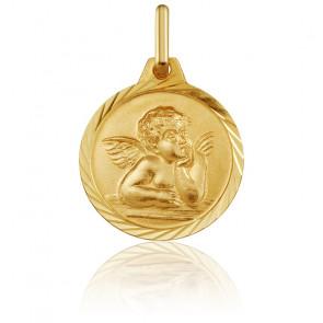 Médaille Ronde Ange Raphaël Motif Facetté Or Jaune 18K
