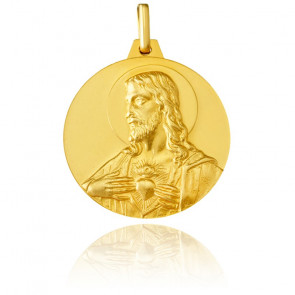 Médaille Réversible Christ et Vierge à l'Enfant Or Jaune 18K