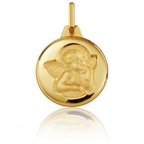 Médaille Ronde Ange Raphaël Or Jaune Brossé 18K