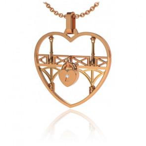 Collier Lock & Love Coeur Or Rose Pont des Amoureux