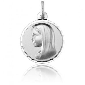 Médaille Ronde Vierge au Voile Facetté Or Blanc 18K