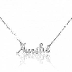 Collier Prénom Aurélie Or Blanc 18K