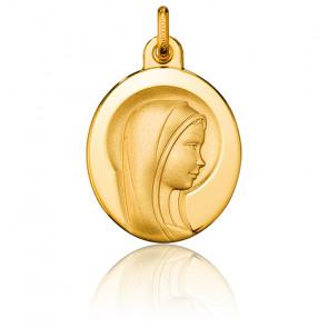 Médaille Ovale Vierge Marie Auréole Or Jaune 18K