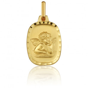 Médaille Rectangulaire Ange Raphaël Or Jaune 18K