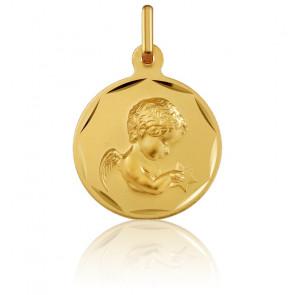 Médaille Ronde Ange en Prière Bords Guillochés Or Jaune 18K