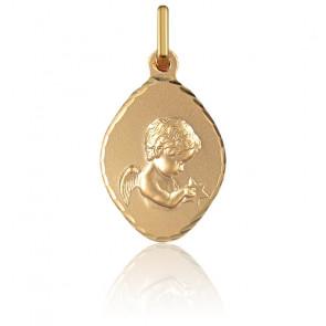 Médaille Losange Ange en Prière Or Jaune 18K
