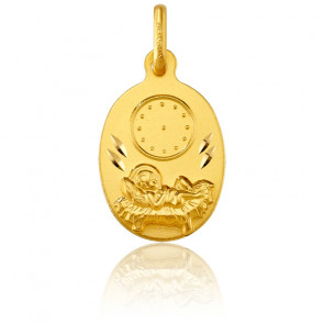Médaille Ovale Enfant Jésus et Horloge Or Jaune 18K