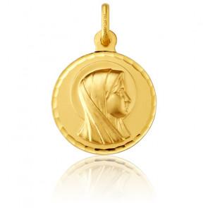 Médaille Ronde Vierge De Profil Bord Facetté Or Jaune 18K