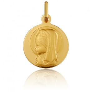 Médaille Ronde Vierge Marie de Profil Or Jaune 18K