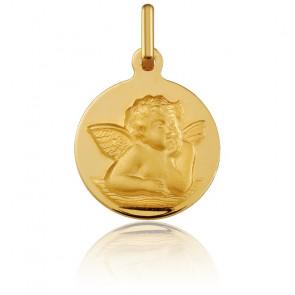 Médaille Ronde Ange Raphaël Or Jaune 18K