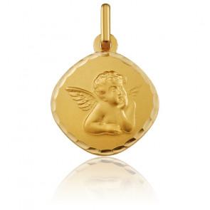 Médaille Carrée Ange Raphaël Bord Facetté Or Jaune 18K