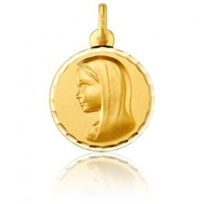 Médaille Ronde Vierge au Voile Facetté Or Jaune 18K