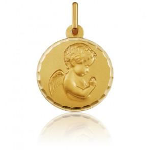 Médaille Ronde Ange en Prière Facetté Or Jaune - Argyor