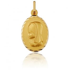 Médaille Ovale Vierge Motif Facetté Or Jaune 18K