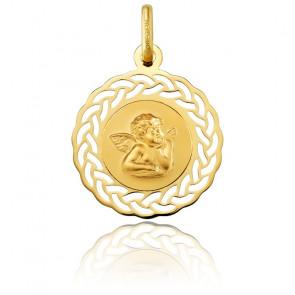 Médaille Ronde Ange Raphaël Couronne Ajourée Or Jaune 18K