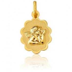 Médaille Ange Raphaël Bords Fleuris en Or Jaune 18K