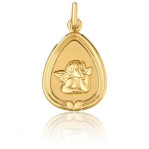 Médaille Triangulaire Ange Raphaël à Bordure Or Jaune 18K