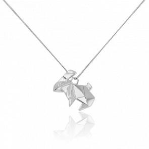 Sautoir Lapin Origami Argent