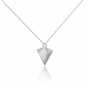 Sautoir Pointe de Diamant Origami Argent