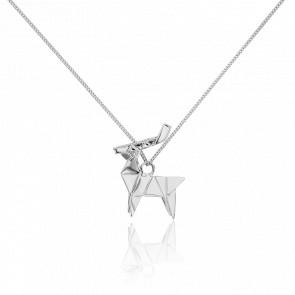 Sautoir Cerf Origami Argent