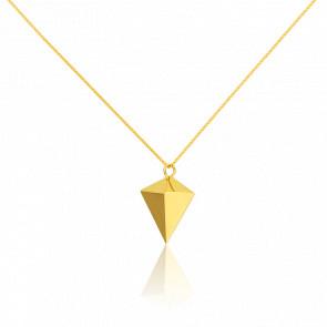 Sautoir Argent Doré Pointe de Diamant Origami