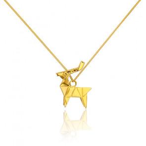 Sautoir Cerf Origami Doré