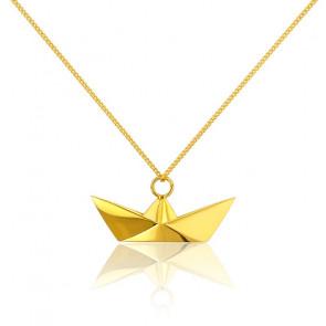 Sautoir Bâteau Origami Doré - Origami Jewellery