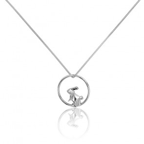 Collier Cercle Lapin Origami Argent