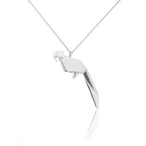Sautoir Perroquet Origami Argent