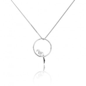 Collier Cercle Perroquet Origami Argent