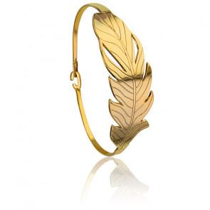Bracelet Manchette Plume Plaqué Or Jaune