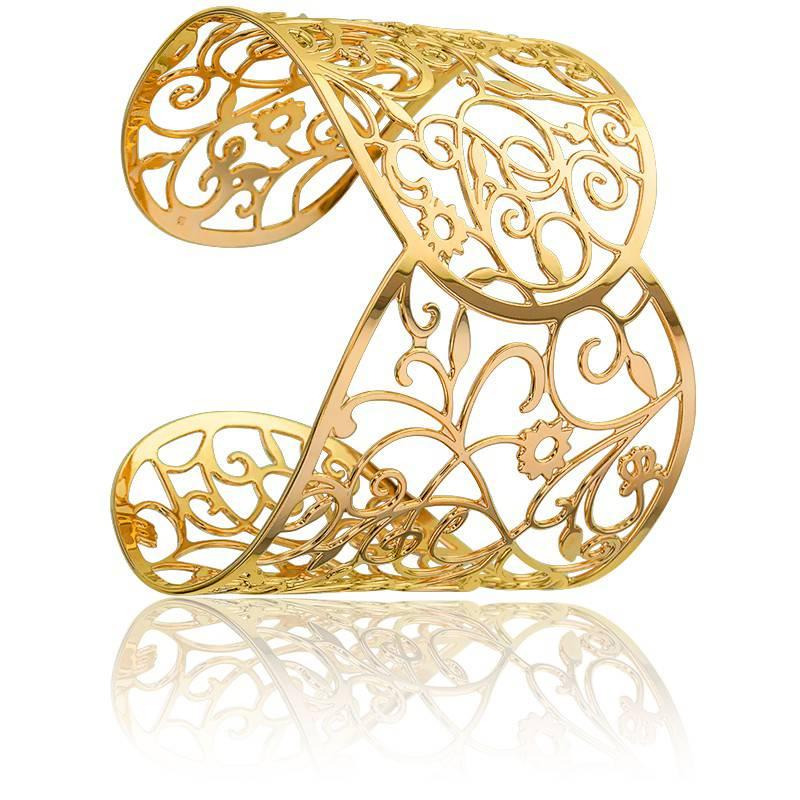 bracelet manchette arabesques florales plaqu or ocarat. Black Bedroom Furniture Sets. Home Design Ideas