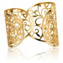 Bracelet Manchette Arabesques Florales Plaqué Or Jaune